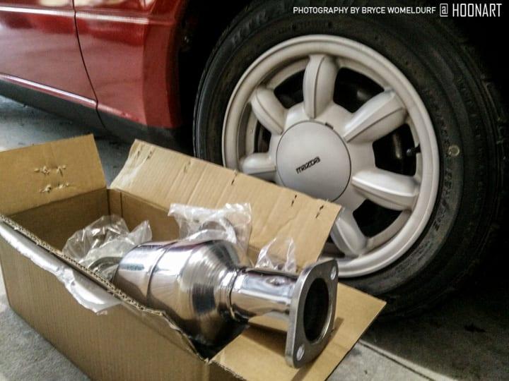 Miata catalytic converter waiting for installation