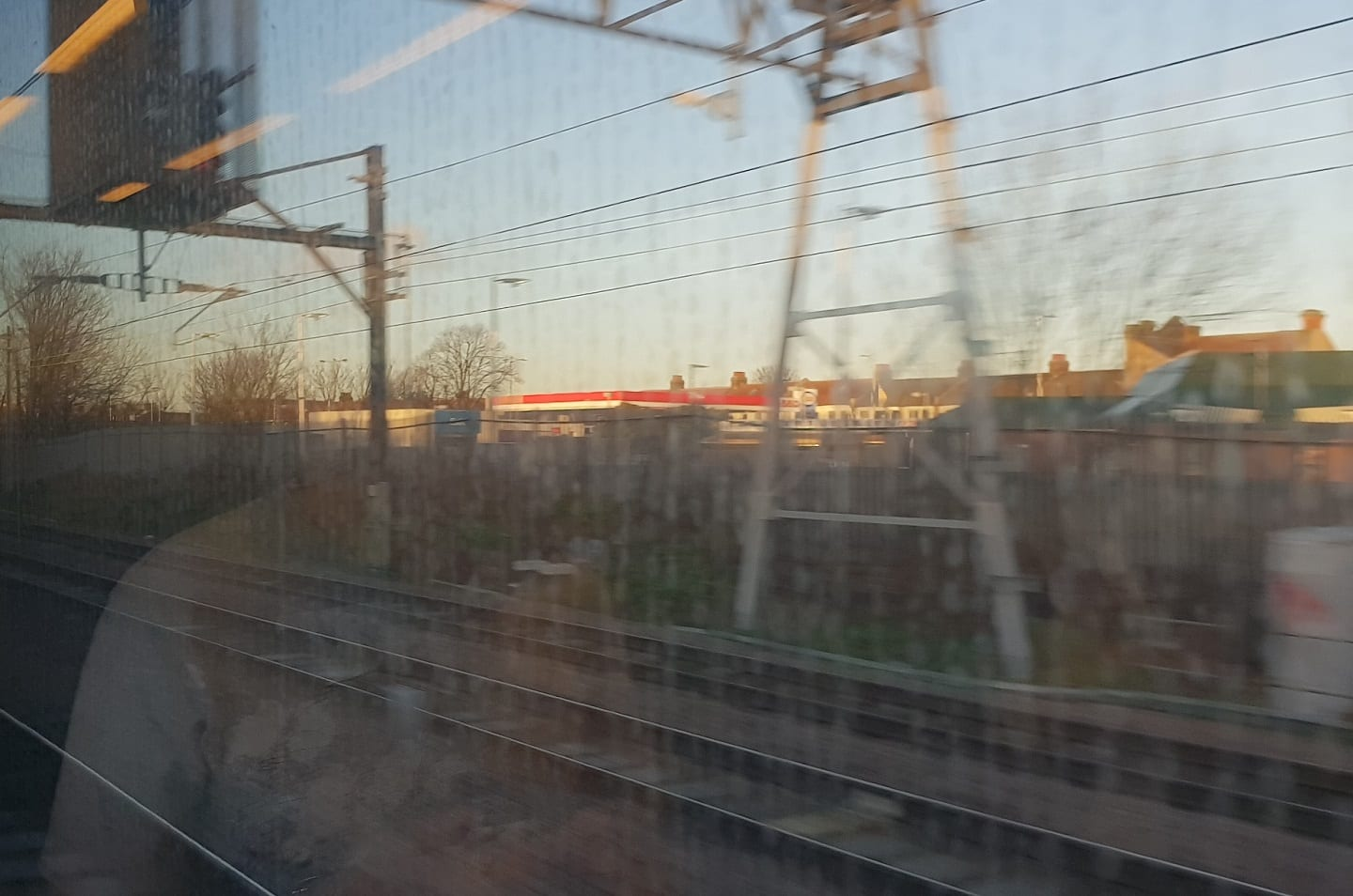 On the right track. Approaching London by train