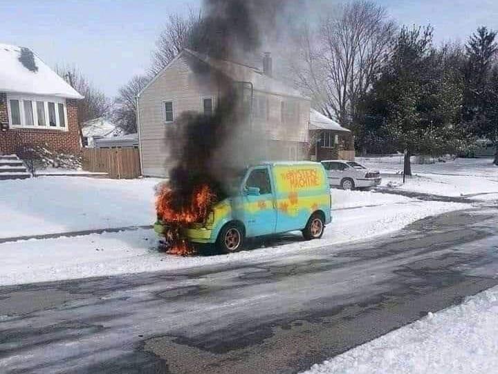 Burning Mystery Machine Van