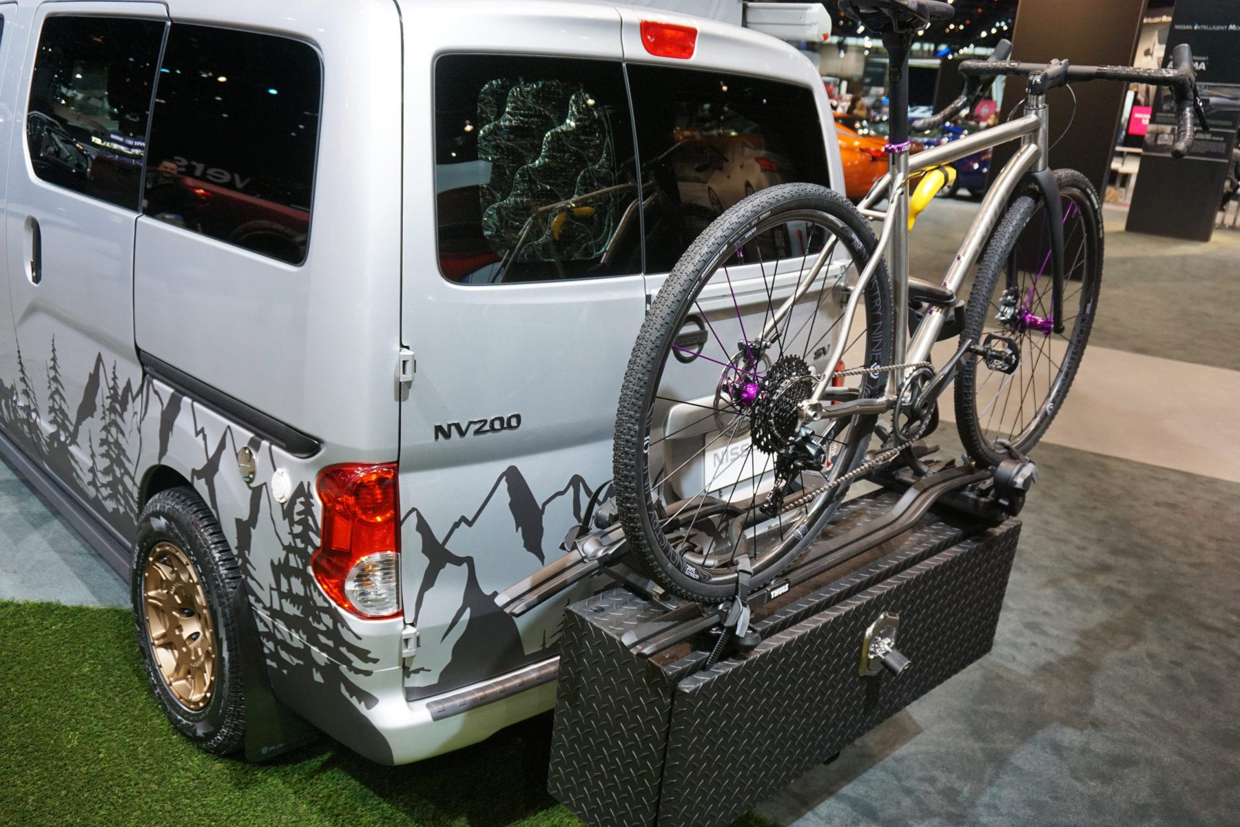 rear cargo box and bike rack on the Recon Campers Envy