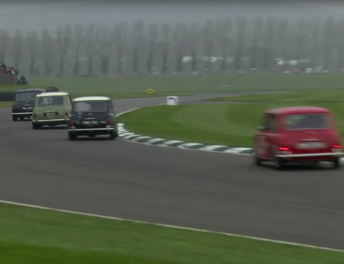 Four classic Minis battle it out at the Goodwood Member's Meeting