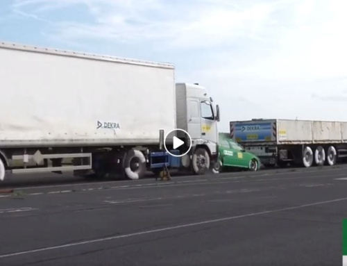 Dramatic video shows what happens to a car sandwiched between two trucks