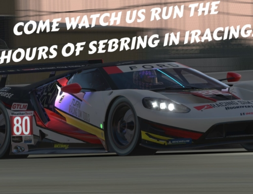 Racing is cancelled, so come watch us virtually race the iRacing 12 Hours of Sebring this weekend