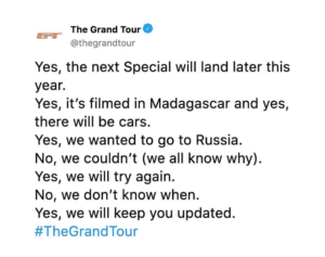 """Last Call: An update on """"The Grand Tour"""""""