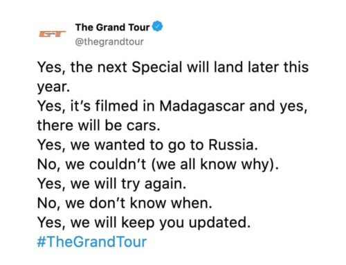 "Last Call: An update on ""The Grand Tour"""
